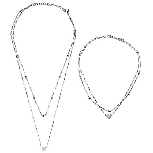 YINETTECH Set of Silver Double Layered Heart Pendant Necklace Choker & Ankle Multilayer Adjustable Stainless Steel Jewelry Gifts for Women Girls