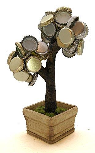 Deckel Bonsai - Magnetischer Kronkorkenbaum mit 3 Magneten/Perfekte Geschenkidee für Biertrinker/Partyspiel (Braun)