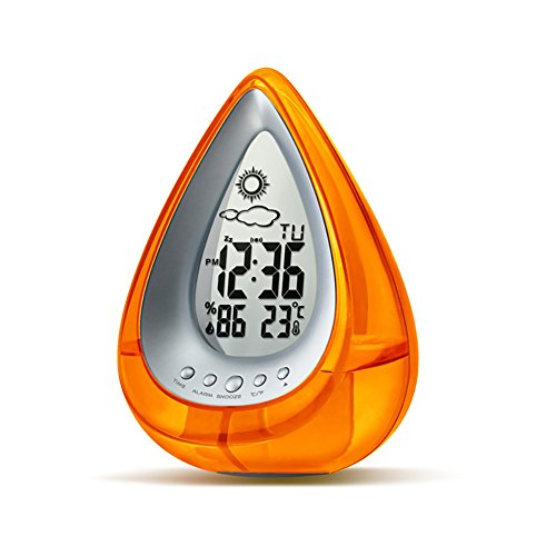 LIGHTOP Eco-Friendly Clock 4 in 1 Wasserbetriebene Uhr mit Weckfunktion Tischuhr (24-Stunden Mode) mit Datum und Temperatur Anzeigen für Schlafzimmer Haus Büro Wohnzimmer (Orange)