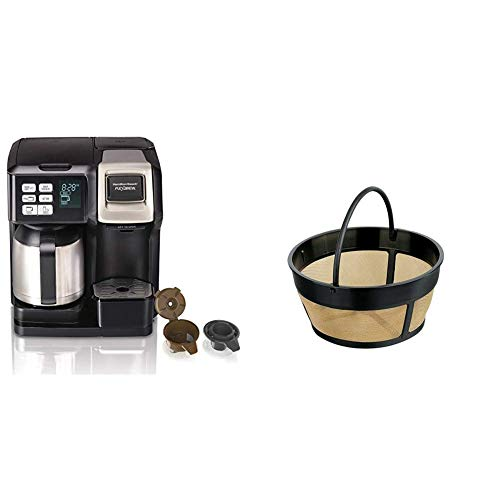 Hamilton Beach FlexBrew Thermal Coffee Maker, Single Serve & Full Pot, Black and Stainless (49966) & Hamilton Beach Permanent Gold Tone Filter, Fits Most 8 to 12-Cup Coffee Makers (80675R/80675)