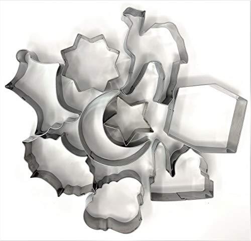 Eid & Ramadan Cookie Cutter Small Set - 7 Stainless Steel Cutters + 2 Bonus Cutters. Total 9 Cutters