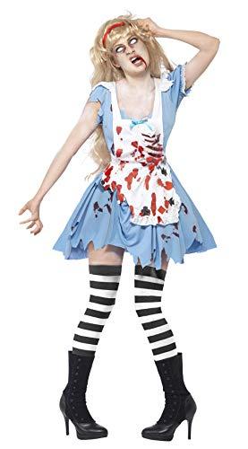 Smiffys, Zombie-Malice kostuum, jurk met latex borstdeel, schort en haarband, maat: L, 40059 Größe: 44-46 blauw