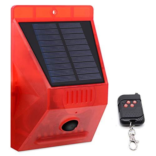 Rehomy Solar Sound & Licht Alarm Bewegungsmelder 129dB Sirene Sound Alert Strobe Warnlicht mit Fernbedienung