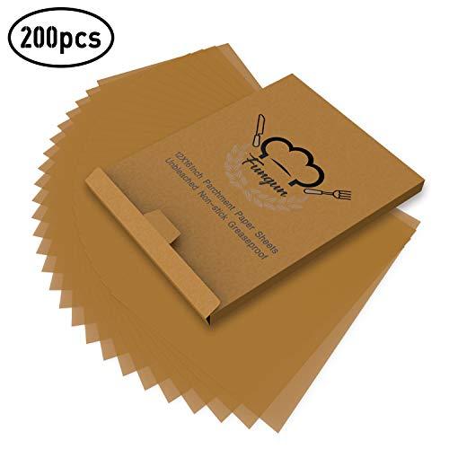 200pcs Parchment Paper Baking Sheets Fungun 12x16quot NonStick Unbleached Precut Parchment Paper for Cook Grill Steam Pans Air Fryers Hamburger Patty Paper