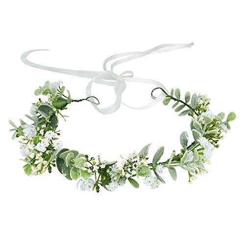 HJYHYN Flower Crown Boho Flower Wreath Artificial Floral Crown Bridal Headpiece Greenery Crown for Wedding Ceremony Party Festival