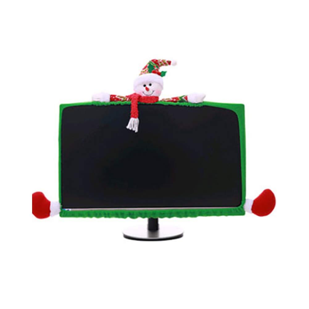 tyrrdtrd - Marco de Navidad con Forma de Alce de Papá Noel y muñeco de Nieve para Monitor de computadora de 19 a 27 Pulgadas, Tela, Snowman: Amazon.es: Hogar