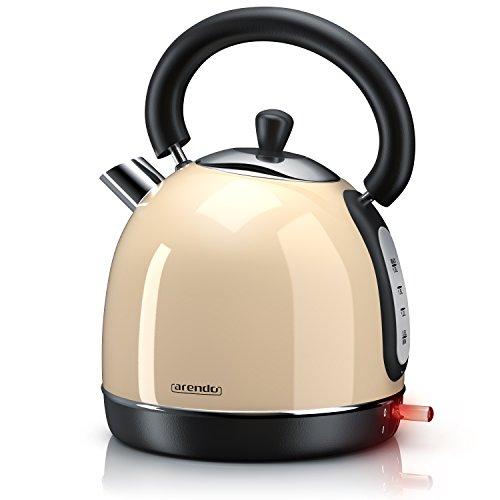 Arendo - Wasserkocher Retro 3000 Watt Retro Edelstahl Teekessel - Schnellkoch Wasserkocher - Füllmenge max. 1,8 Liter - automatische Abschaltung - in Creme