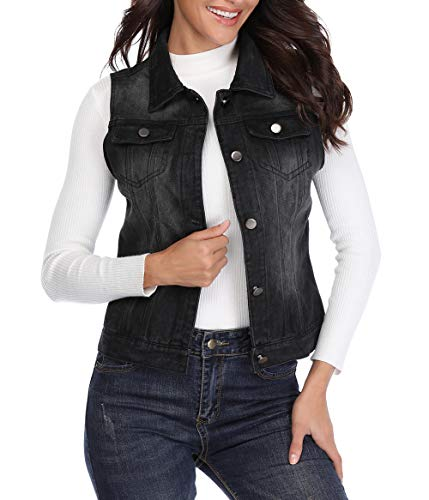 MISS MOLY Women's Sleeveless Frayed White Looking Lapel Denim Vest Button Up Dowm Denim Jacket Vests Coat w 2 Chest Pockets (Black Vest,L)