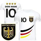 DE FANSHOP Deutschland Fussball Trikot Kinder mit gratis Wunschnamen und Nummer #D4 EM 2021 2022...