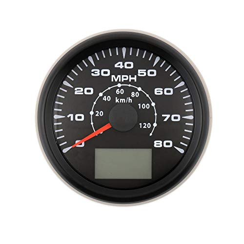 AUXMART GPS Speedometer Gauge 0-80 MPH, 85mm Speedometer with 8 Backlight for Car Motorcycle Boat, Black