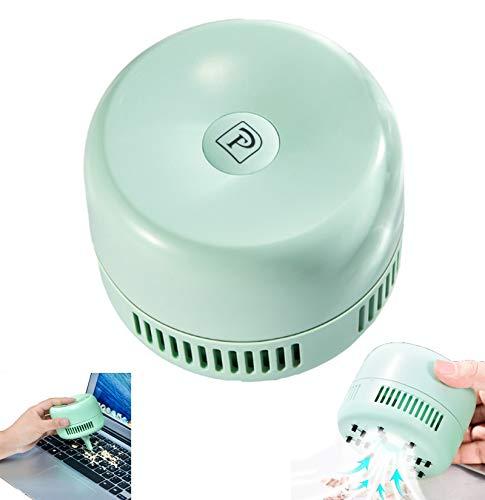 FengJ Tragbare Mini-Staubsauger, Desktop-Vakuum-Schreibtisch-Tabellen-Staub-Reiniger Wiederaufladbare für Laptop-PC-Tastatur Office Clean Bürste Auto-Haustier-Haus-Reinigungs-Tools,Grün
