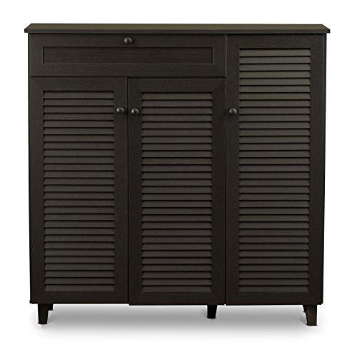 Baxton Studio Pocillo Wood Shoe Storage Cabinet, Brown