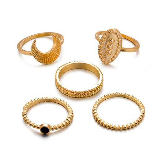 Eleusine Frauen Mode Legierung Retro Mond Muster Gelenk Nagel Nagel Ring
