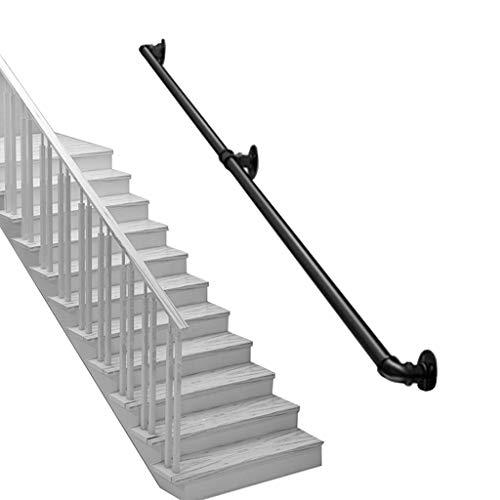 LTFS [Meer grootte - Zwarte veiligheids-wand-leuning - ijzeren trapleuning voor gang, kleuterschool, ziekenhuis, landhuisjes - deking-leuningen