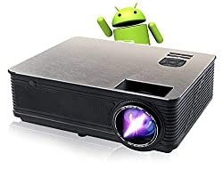 BORSSO™ Earth 8.2 with Android 6.0, FHD Projector, Wi-Fi & Bluetooth, 4500 High Lumens, HDMI USB VGA AV, Black,BORSSO,EARTH 8.2 Android