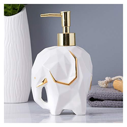 Agal 5-teiliges Badezimmer-Zubehörsatz,Geometrischer Netter Elefant-Seifenspender Für Flüssige Seife Oder Lotion,Vierloches Zahnbürstenhalter (Color : White soap Dispenser)