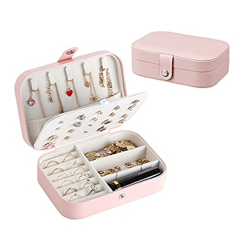 FEIYIYANG Caja Joyero Mini Caja de joyería de Viaje Caja de Almacenamiento Portátil PU Anillo de Cuero Anillo Collar Organizador Caja joyería Caso Organizador Organizador de Joyas (Color : Pink)