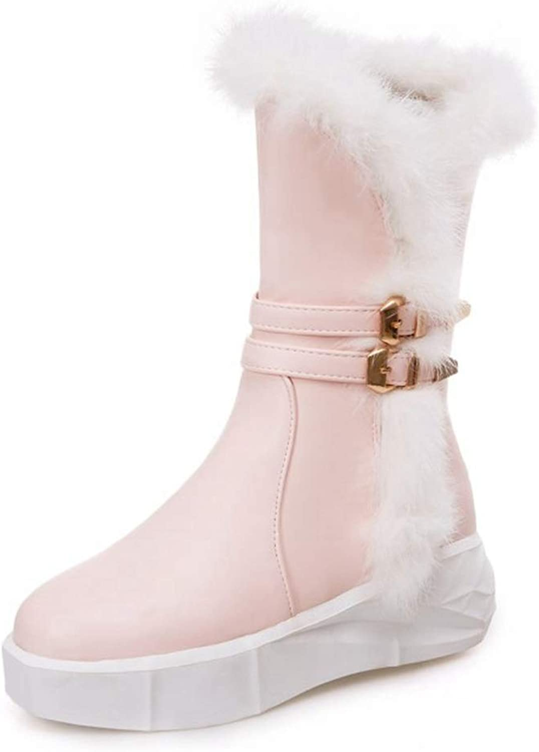 CYBLING Womens Cute Warm Snow Boots Buckle Straps Round Toe Platform Winter Mid Calf Boots
