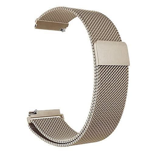 Correa magnética de metal para reloj de malla milanesa con cierre rápido para mujeres y hombres, 16 mm, 18 mm, 20 mm, 22 mm, 24 mm (oro retro, 20 mm)