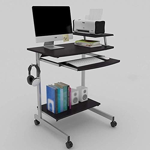 BH Mesa de Teclado Moderna Color Roble Color Negro granulado Escritorio de la computadora Protección del Medio Ambiente Mesa portátil portátil Ahorro de Espacio 700 * 525 * 860Mm, Negro granulado