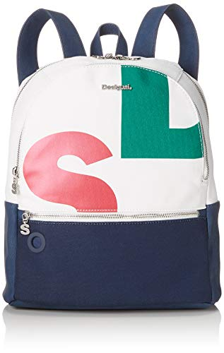 Desigual Bag Logomania Novara Women - Borse a zainetto Donna, Bianco (Blanco), 12x35.3x28.7 cm (B x H T)