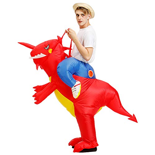 FunnyCos Disfraz inflable de dinosaurio montando un dinosaurio para Halloween, Navidad, fiestas