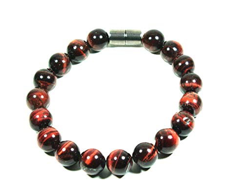 Auras by Osiris - Red Tiger Eye Bracelet Men/Women - Magnetic Clasp - Beaded Bracelets - Immune System Booster - Strengthen Muscles & Bones