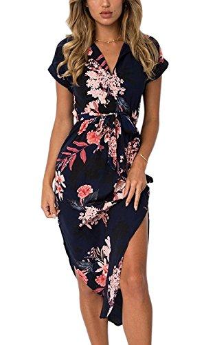 Minetom Damen Sommerkleider V-Ausschnitt Kurzarm Blumenmuster Knielang Kleider Elegant Lange Strandkleid Abendkleid mit Gurt Schwarz DE 48