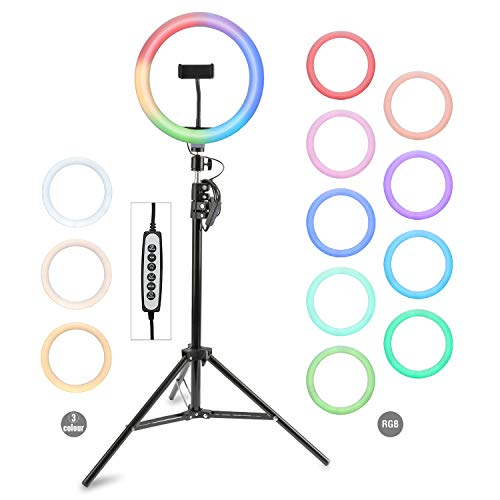 4smarts LoomiPod RGB Multicolor Ringlicht Set mit Stativ & Handyhalterung in praktischen Tragetasche für YouTube, Tik Tok, Vlogging, Social Media Fotos usw. - Schwarz 4S462708