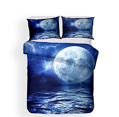 WENYA Naturaleza 3D Paisaje Juego de Cama Mar Galaxia Cielo Estrellado Planeta Luna Nubes Funda Nórdica y Funda de Almohada Microfibra Niña niño (Estilo 3, 150 x 200 cm - Cama 90 cm)