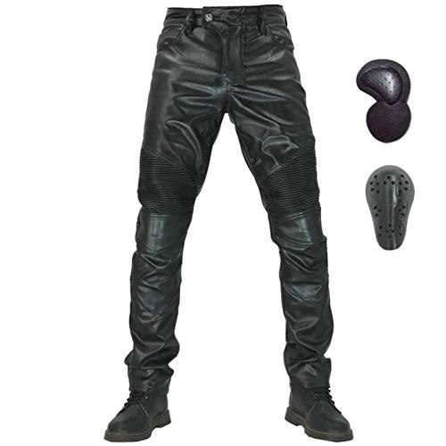Pantaloni Da Moto In Pelle Elasticizzata Protettiva, Pantaloni Da Moto Dritti Impermeabili E Antivento, Pantaloni Anti-caduta (XL)