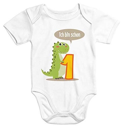 MoonWorks® Kurzarm Baby Body Ich Bin Schon 1 Jahr Eins Dino T-Rex Drache Geburtstag Onesie Bio-Baumwolle weiß 12-18 Monate