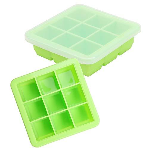 Belle Vous Eiswürfelbehälter mit Deckel Transparent zum Einfrieren von Babynahrung (2 Stk) - Eiswürfelform 9x30ml - Silikon Eiswürfelbox Stapelbar für Obst Brei, Muttermilch, Gemüsebrei - BPA Frei