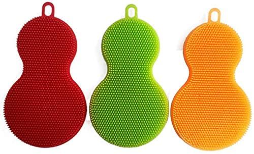 Spugna in silicone per lavare stoviglie Gadgets da cucina, accessori per spazzole (confezione da 3) in spugna da cucina riutilizzabile in silicone, resistente al calore