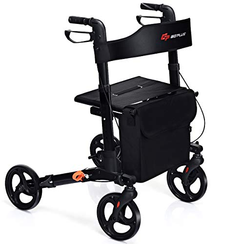 GYMAX Folding Rollator Walker with Dual Brakes, Seat, Detachable Storage...