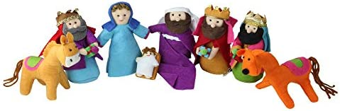 8 piece Set Fabric Christmas Nativity Set with Wise Men Animals 6 Inches Tall product image