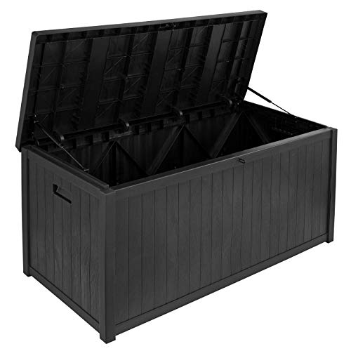 SA Products 430L Weatherproof Wood Effect Plastic Garden Storage Box XL Capacity - Suitable for Indoor & Outdoor Use - Ideal for Furniture Cushions, Parcels, Tools, Toys, Shed Overflow - Black