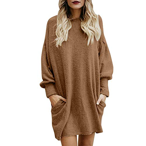 Huixin Sweat À Capuche pour Femmes Pull À Longs Vêtements Capuche Tops Sweat À Manches Longues Casual Automne Pulli Robes Sweat Jacket Jumper (Color : Khaki, Size : L)