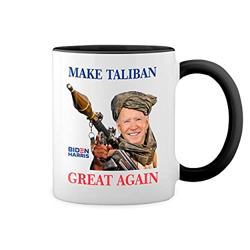 Make Taliban Great Again Biden Afganistan Blanca taza de caf con RIM Negro y manija Mug