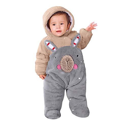 SUCES SUCES Neugeborenen Overall, Mädchen Jungen Einfarbig Cartoon Samt Kapuze Strampler Warmer Outdoor Kinder Outfits Niedlich Weich Winter Mantel (Khaki,73/9M)