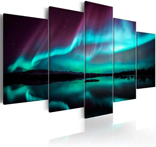 Large 5 Pieces Night Light Modern Canvas Print Aurora Borealis Scenery Painting Framed Landscape product image