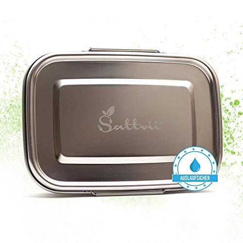 Sattvii® auslaufsichere Eco Lunchbox Brotdose 1260 ml mit D-Lock aus Edelstahl I Essensbox mit TÜV Prüfung I Umweltfreundliche Eco Lunch Box Ecobox bpa frei I Jausenbox Frühstücksbox Brotbüchse
