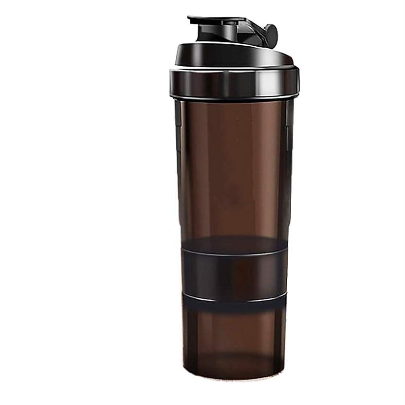 対応戦士バイオレットミルクセーキ シェイクカップフ[ 最新デザイン ] 多層タンパク質粉末 シェイクカップフ ィット ネススポーツウォーターボトル 旋風やかんミルク スケールティーカップ(ブラック)