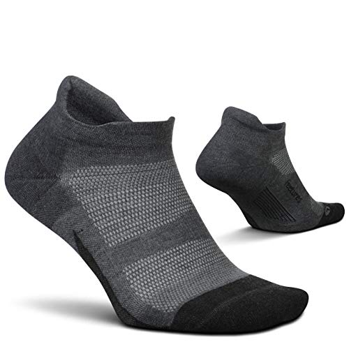Feetures Elite Max Cushion No Show Tab Sock Block (Medium, Gray)