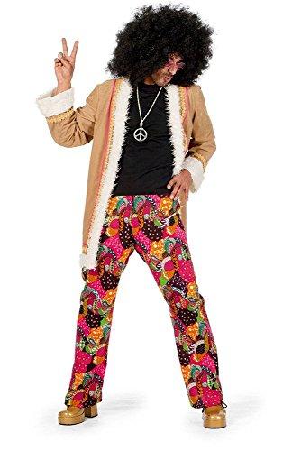 shoperama Hippie Herren Kostüm Mantel mit Schlaghose 60er 70er Jahre Seventies Sixties Flower Power, Größe:50