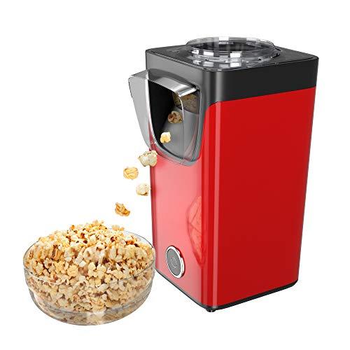 Gadgy Popcornmaschine Für Zuhause | Süßes Und Salziges Popcorn | Heissluft Popkornautomaten | Fertig in 3 Minuten | 60 Gramm Popcorn | Inklusive Messlöffel