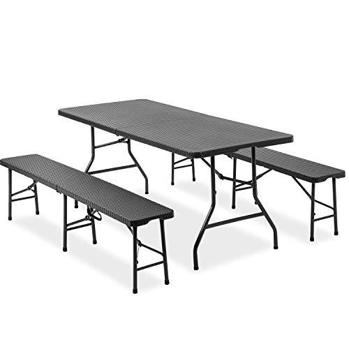 Merax Bierzeltgarnitur,3 teilig Gartenmöbel-Set,Leichtes tragbares Tisch- und Bank-Set Gartenmöbel für Camping, Picknick, Grill (Schwarz)