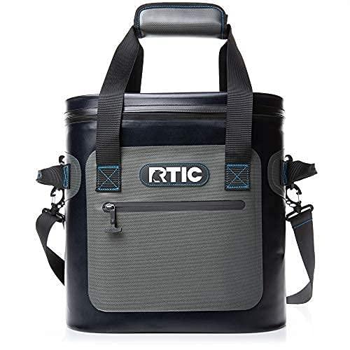RTIC Soft Cooler 20, Blue/Grey, Insulated Bag, Leak Proof Zipper