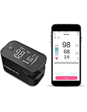 JUMPER Large Screen Wireless Pulse Oximeter with Large Display for Measurement SpO2, Perfusion Index and Heart Rate of The Finger with Carrying Bag, Batteries and Lanyard (Black)