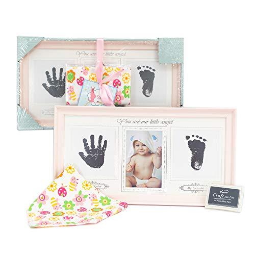 Marco fotos de huellas de manos y pies bebé rosa | Bonus: un babero de algodón extra absorbente | con Almohadilla de Tinta No Tóxica | Regalo original para bebés hasta 8 meses